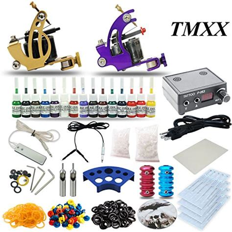 amazon tattoo supplies complete kit 2 machine gun 15 color inks power