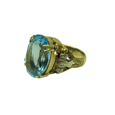 vintage edwardian blue topaz 14k gold ring with 12