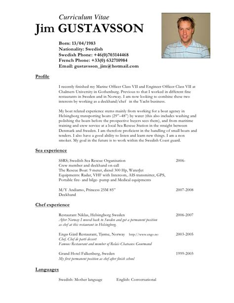 Example Of Chef Resume by Jimgustavsson Cv Eng 2 Page
