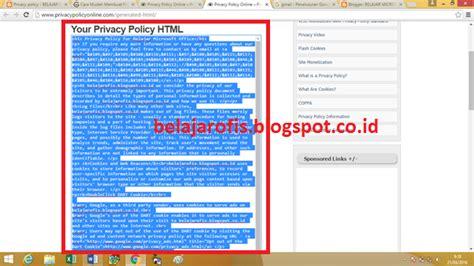 membuat blogspot co id cara mudah membuat privacy policy pada blog sendiri