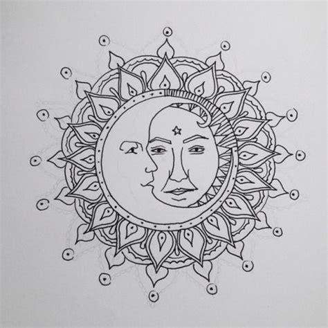 sun and moon mandala tattoo grunge sketch pesquisa do moon and