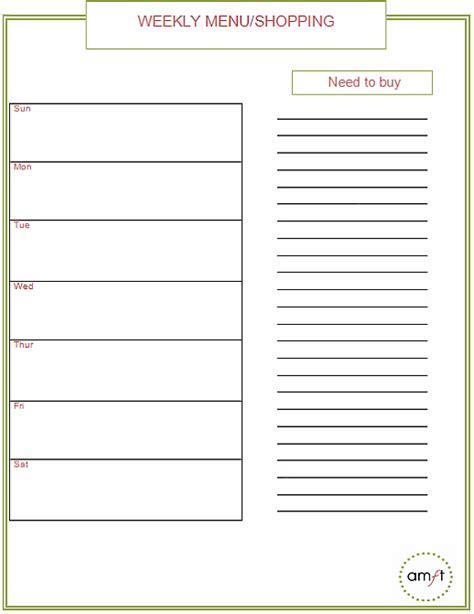 Weekly Menu Printable Monthly And Weekly Menu Planners Free Printables Amft
