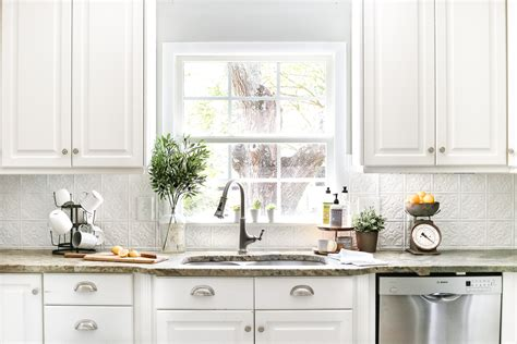 white tin backsplash diy pressed tin kitchen backsplash bless er house