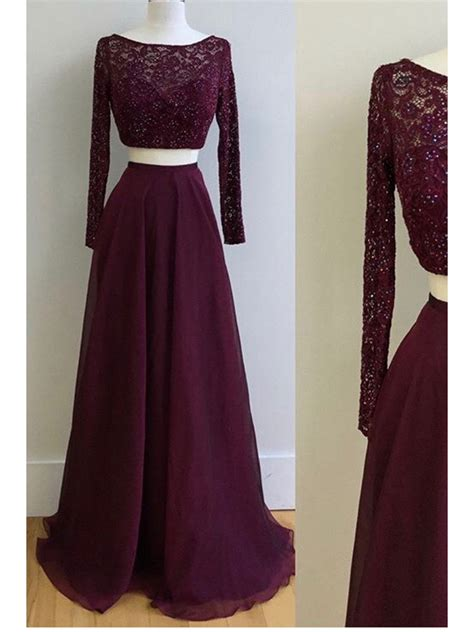 Sleeve Lace Evening Gown two pieces sleeves lace chiffon prom dresses