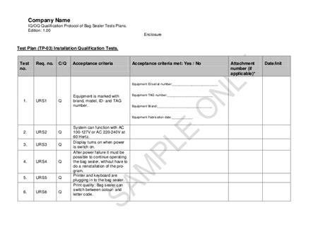operational qualification protocol template qualification of bag sealer finalpdf