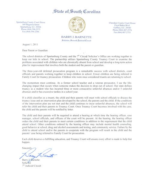 truancy letter template spartanburg county truancy court overview