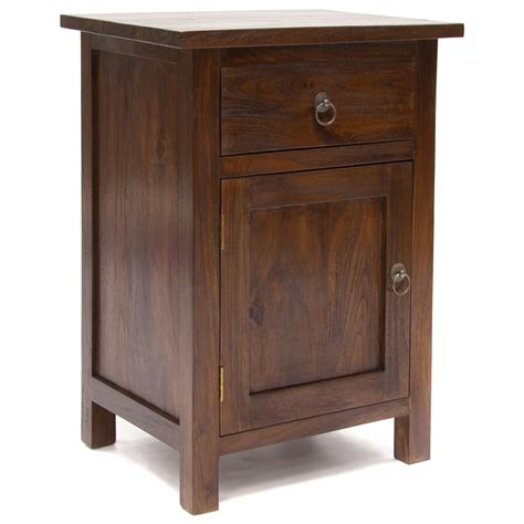 bedroom furniture bedside cabinets java rustic teak bedside cabinet door drawer bedside