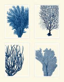 Blue coral print on 4 panels nautical print beach house decor wall a