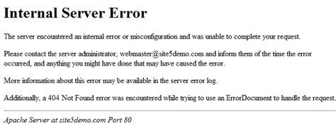 internal server error site5 knowledgebase 187 apache error messages overview
