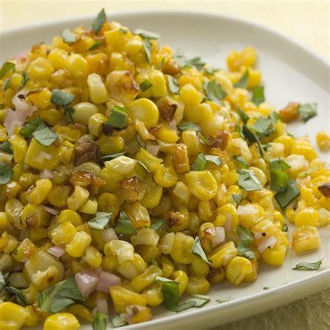 corn recipe roasted corn with basil shallot vinaigrette recipe eatingwell