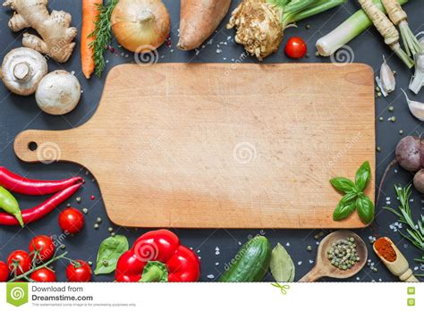 cooking board spice herbs and vegetables food background and empty cutting board stock photo image 74318002