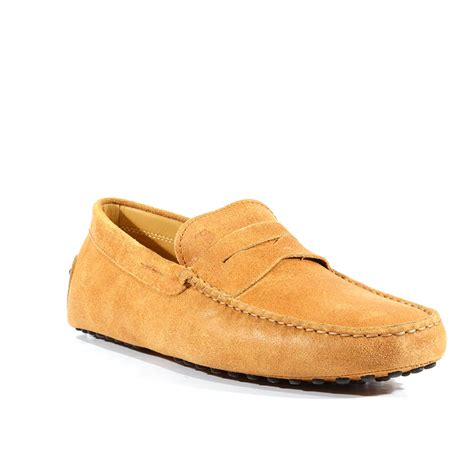 tods shoes gommini textured leather moccasin nuovo beige tdm31