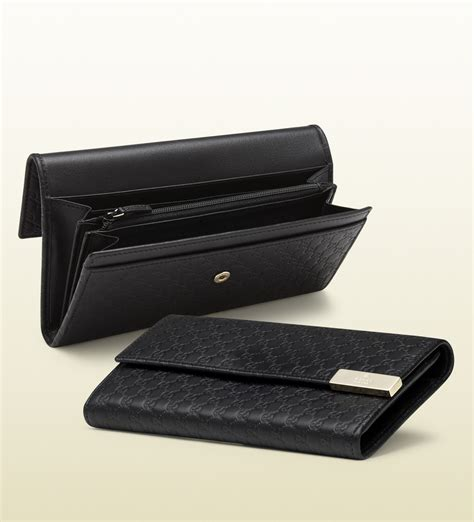 lyst gucci microssima leather continental wallet in black