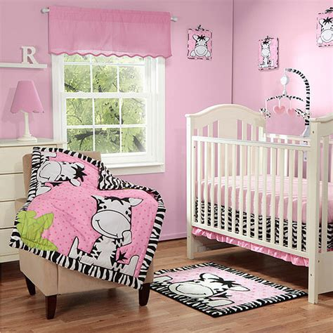 baby boom i zebra 3pc crib bedding set pink walmart