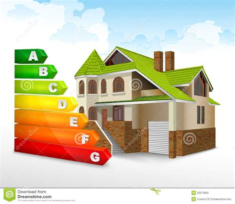 House Rating Energy Efficiency Rating With Big House Stock Vector