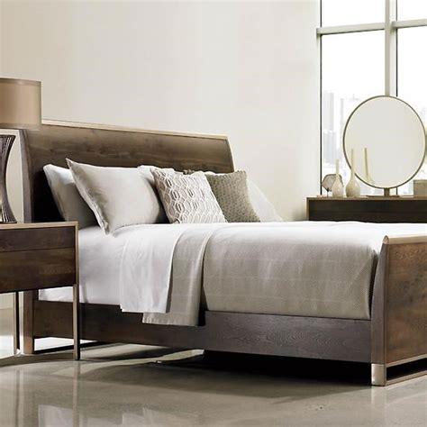 patrick rustic wood modern brass sleigh bed queen
