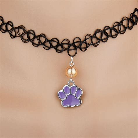 10pcs lot zinc alloy drop glaze paw prints glass bead charm stretch elastic rope pendant