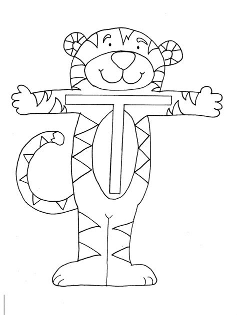 tiger t coloring page printable t tiger alphabet coloring pages
