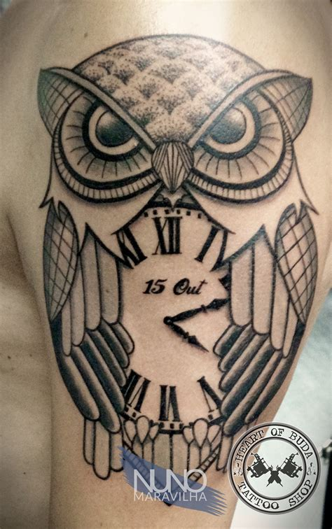 owl clock tattoo owl with clock tattoos by nuno maravilha
