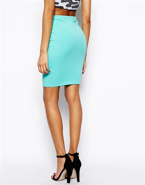 asos knee length pencil skirt in jersey in blue lyst