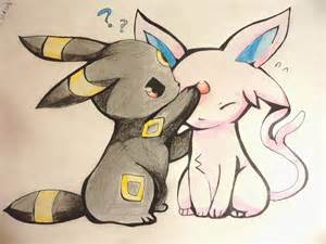 Chibi umbreon and espeon pokemon by haatonokoe on deviantart