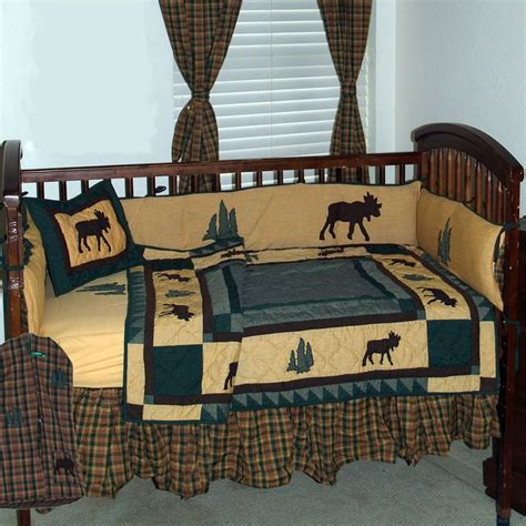 moose crib bedding rustic themed baby room trail brown black and green