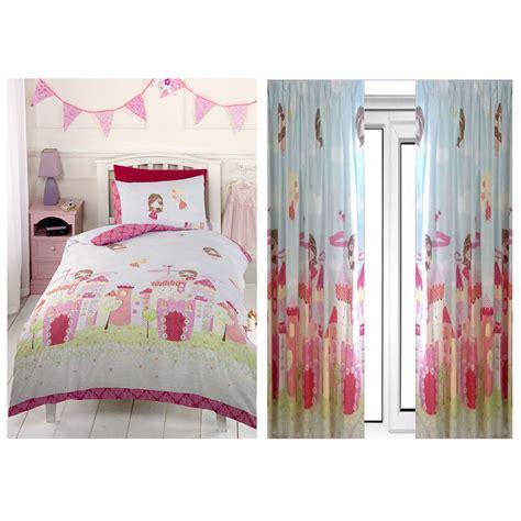 double duvet covers and matching curtains girls fairy castle double duvet cover set 66 quot x 72