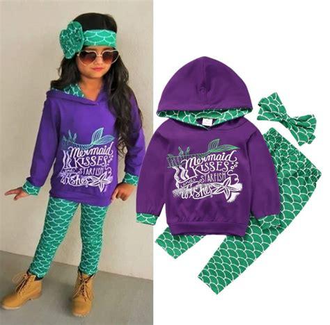 Set Hoddie Headband Handband toddler clothes set mermaid tops hoodie cotton warm headband 3pcs