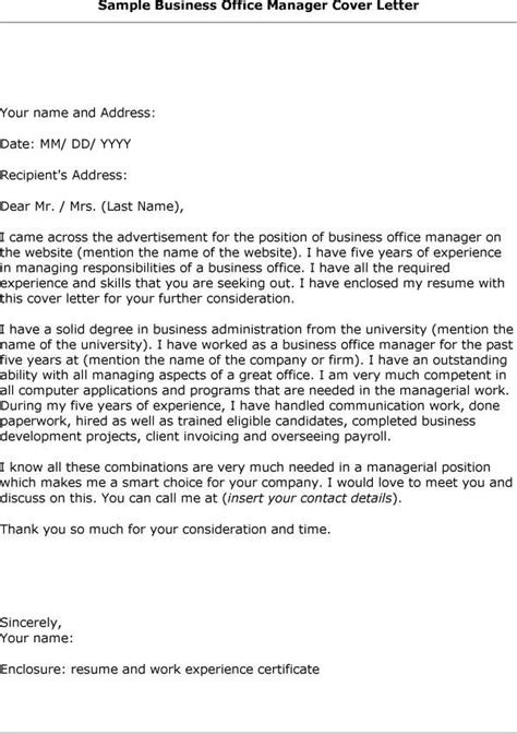 cover letter for business manager position cover letter office manager cover letter exles office