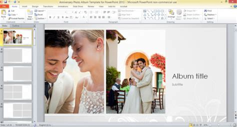 powerpoint themes photo album anniversary photo album template for powerpoint 2013
