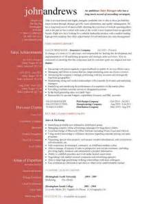 Resume Templates Sles by Sales Manager Cv Exle Free Cv Template Sales Management Sales Cv Marketing