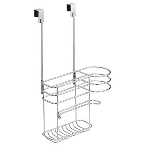 Flat Iron And Hair Dryer Holder In Polished Chrome interdesign classico cabinet hair care tools holder