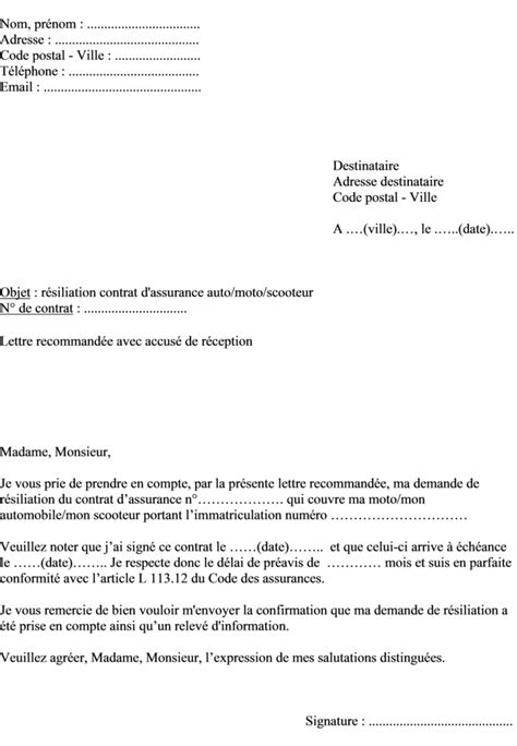 Modèle Résiliation Contrat Assurance