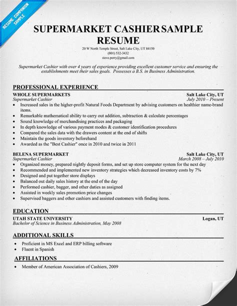 resume template for cashier supermarket cashier resume sles across all industries