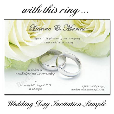 day wedding invites with this ring wedding day invitations