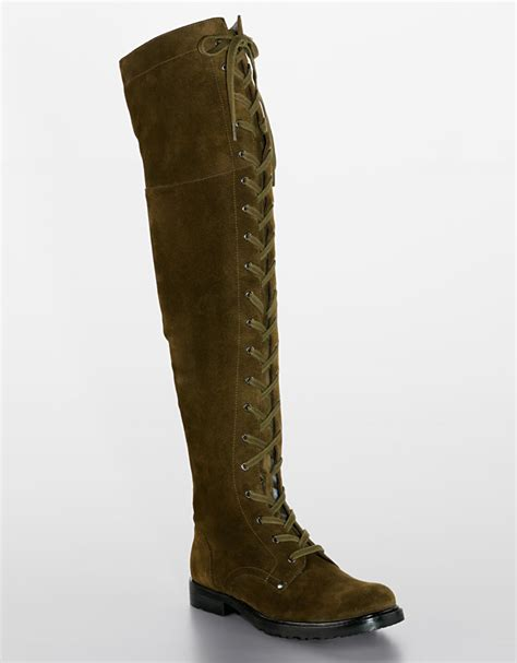 via spiga nathan the knee lace up boots in green