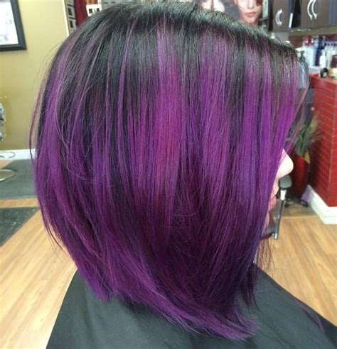 black stacked bob with purple balayage 25 amazing purple ombre and lavender ombre hairstyles