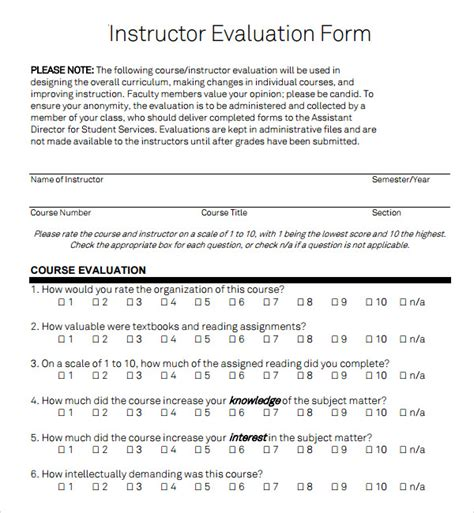 Instructor Evaluation Letter 15 In Donation Form Template 25 Amazing