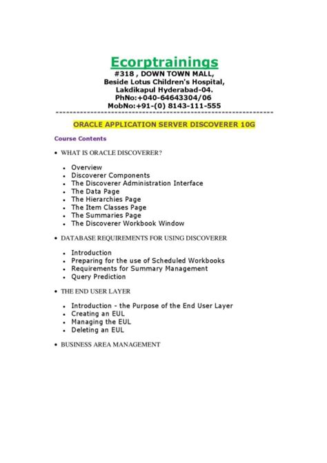 tutorial oracle application server 10g oracle application server discoverer 10g training in