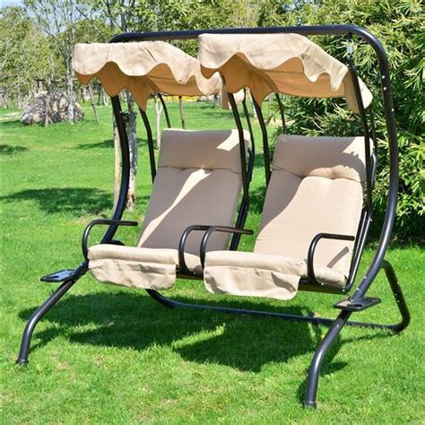 2 person canopy swing aos patio sanibel 2 person individual double swing with canopy