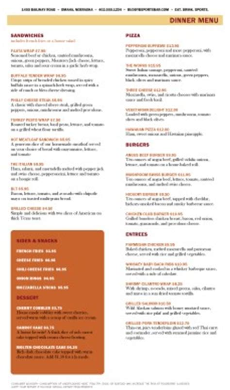 sports bar and grill menu page 2 lunch cafe menu