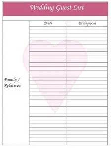 Free printable wedding guest list on wedding guest printable