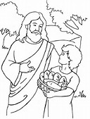Bible Jesus Feeds 5000 Coloring Pages