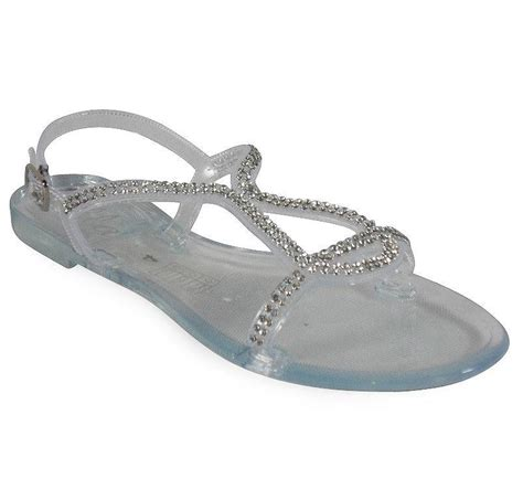jelly sandals size 3 clear jelly buckle flat summer evening