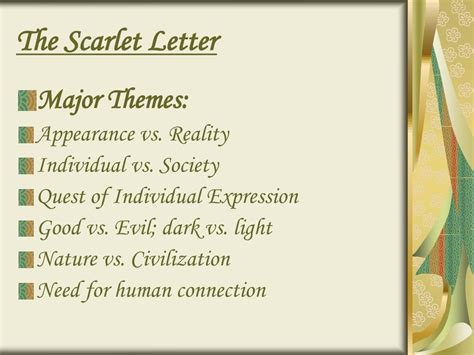 scarlet letter important themes ppt hawthorne romanticism the scarlet letter and