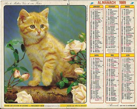 Calendrier De Chat Calendrier Almanach Du Facteur 233 E 1989 Chat Chien