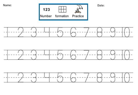 practice printing numbers 1 10 number formation practice dotted 1 10 by dr dig teaching