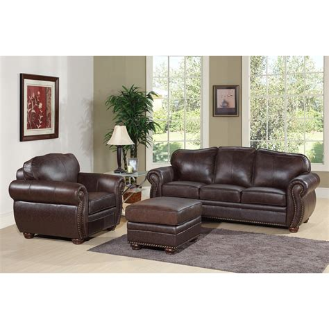 leather sofa and ottoman set abbyson living berkeley brown leather chair and