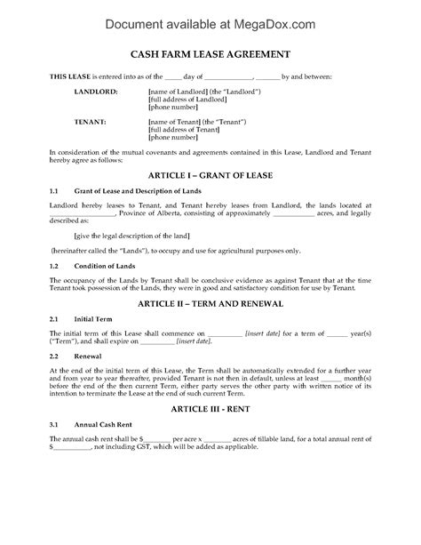 Alberta Cash Farm Lease Agreement   Legal Forms and