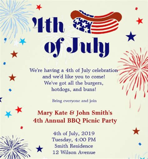 4th of july invitation templates picnic invitation template 26 sle exle format